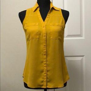 Mustard Sleeveless Portofino Shirt - Express